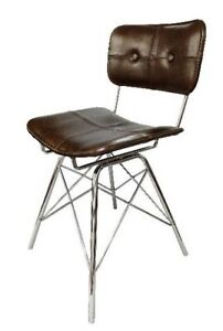 Vintage Leather Stainless steel base chair