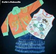 NEW Lipstik Love Girl Skooter Sequins Beads Tee Jacket Denim Skirt 3pc Set 5