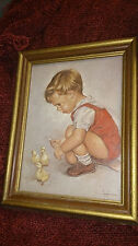 """JAMIE"" by LEO JANSEN #91214 PRINT WALL HANGING PAINTING Farm Boy Feeding Chicks"