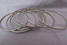 TINY STAINLESS  SILVERTONE ETCHED BANGLE BRACELETS LOT OF 7