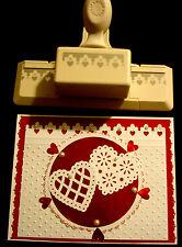 RARE Martha Stewart Ornate TREFOIL Border PUNCH w Tiny Hearts love Valentine's