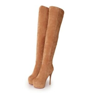 Womens Sexy Suede Fabric Over The Knee Thigh High Heel Platform Boots Clubwear D