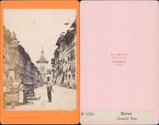 AD.Braun, Suisse, Berne, la grande rue  Vintage CDV albumen carte de visite