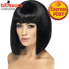 W476 Black Coquette Bob Costume Short Wig with Fringe Celebrity Flapper Pop Star