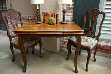 Small Antique French Carved Tiger Oak Draw Leaf Dining Kitchen Table Desk