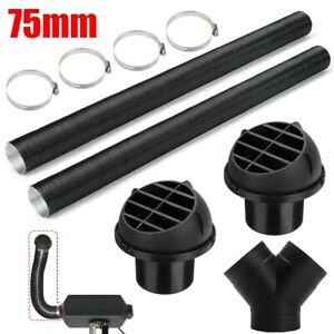 75mm Pipe Ducting Y Piece + Warm Air Outlet Vent + Hose Clip For Diesel Heater
