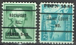 1963-65 2 PDPN HANDSTAMP DATED PRECANCEL CONROLS from ROCKFORD IL & ST LOUIS MO