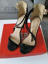 DEEP 7 - Black Buckle Fastening High Heeled Faux Suede court Shoes Size 6