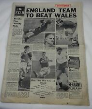 Periódico Original-La Estrella - 14th 1956 de noviembre con Inglaterra V Gales Souvenir