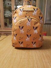 BETSEY JOHNSON Yellow FRENCH BULLDOG Dog LOGO Faux Leather BACKPACK Bag NWT RARE
