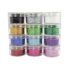 Set of 12 Large 10g Cosmetic Grade Assorted Glitter Pots Premium Fine