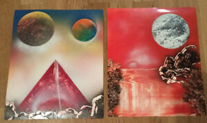 VINTAGE 80s 90s FANTASY SCI FI SPACE ART PAINTINGS X2 ON PAPER