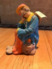 Two Stamped Emmett Kelly Jr. ceramic Flambro Figurine clowns,