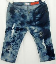 Decibel Junior's Capri Jeans SZ 11 Tie Dye Distressed Patched Studs