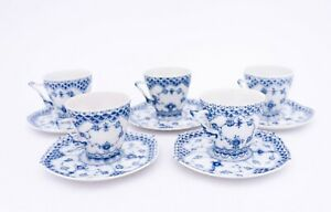 5 Cups & Saucers #1036 - Blue Fluted Royal Copenhagen Double Lace  - 1st Quality