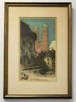 LUIGI KASIMIR Framed & Matted Early Aquatint Etching DIE FRAUENTURME C 1915