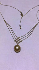gorgoeus 11-12mm south sea round gold pearl pendant necklace