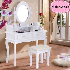 White Dressing Table, Oval Mirror & Stool Set (4 Drawer) Bedroom Makeup Desk OS