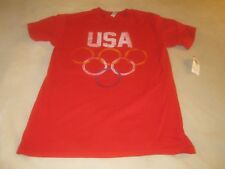 NWT USA Olympic Rings Logo T Shirt Red Mens Size Small ~ 3497