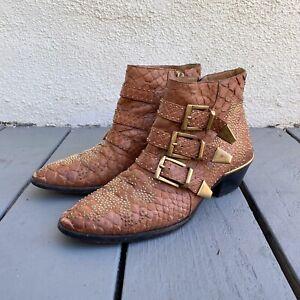 Chloe 37.5 Brown Python Snakeskin Studded Buckle Susanna Boot Bootie 7.5 $1380