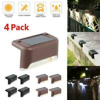 4x Outdoor Solar Powered LED Deck Post Light Garden Yard Fence Landscape Lamp