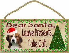 "Dear Santa Leave Presents Take Cat Basset Hound Christmas Dog Sign Plaque 5""x10"""