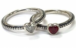 Pandora One Love Ruby & Cubic Zirconia Heart Rings ~ Size 4.5