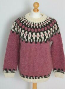 Vintage Handmade Norwegian Scandinavian Chunky Knitted Wool Jumper Size 8 10 12