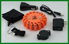 Road Flare Rechargeable Magnetic 16 Amber LEDs 9 Flash Patterns Waterproof