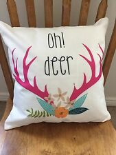 """Pillow Cover """"oh deer"""" 18""""x18"""" Antlers Hunting Fall Farmhouse Quick Home Decor"""