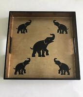 Elephant Serving Tray Black Gold 14 x 14 Made in Vietnam Modern Ethnic Barware