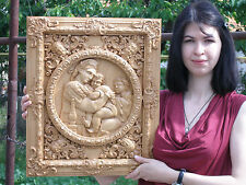 """20"""" MADONNA OF THE CHAIR Rafael  Icon 3D Orthodox Wood Carved Russian"""