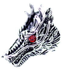 Punk goth style antique silver and red coloured dragon head ring, UK Size W