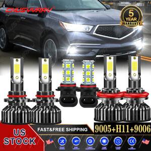 For Acura MDX 2004 2005 2006 - 6x 6000K LED Headlights + Fog Lights Bulbs Kit