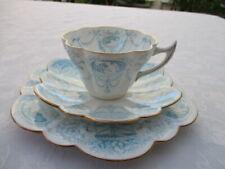 Antique Wileman Foley (pre Shelley) Trio Blue Cameo pattern Snowdrop shape 5940