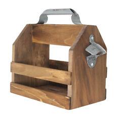 Wooden Beer Bottle Holder Carry Rack Crate Box Case with Metal Bottle Opener