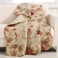 Reversible Rose Quilted Throw Striped Blanket 50x60in Cotton Floral Bed Cover