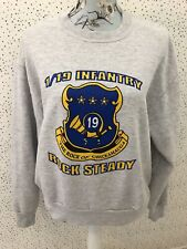 Jerzees Vintage Retro 1/9 Infantry Grey Sweatshirt Jumper Size M