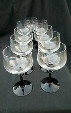Fostoria Eloquence Onyx Crystal Water Goblet Set 9 Elegant Glass Black Art Deco