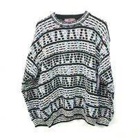 Vintage 90s Concrete Mix Mens Cosby 3D Textured Knit Pullover Sweater Size Large