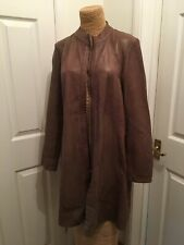 rino & pelle brown leather coat size 42