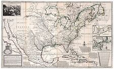 Old Vintage Decorative Map of French Colonies in North America Moll 1732