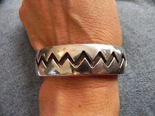 Sterling Silver Overlay Cuff Bracelet Zig-Zag design Signed M Hopi