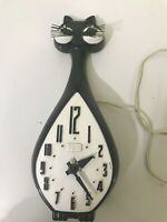 Vintage Spartus Black And White  Cat Wall Clock FOR PARTS OR REPAIR