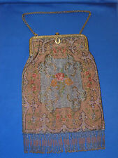 Antique French Steel Cut Bead Oriental Rug Double Sided Huge Purse 1900