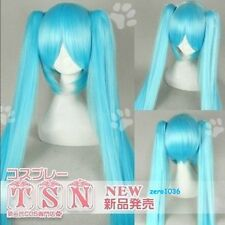 Long Vocaloid miku ice blue 2Clip On Ponytail COS hair wig