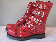 Nos UNDERGROUND ENGLAND Buckle Conicle Cone Studded Gauntlet Stomper Boots UK 4