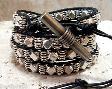 Silver Finish Faceted Cube & Barrel Beads Handmade Beaded Leather Wrap Bracelet