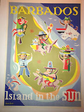 original vintage travel poster Barbados chris russell 1956 linen backed
