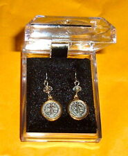 Italian St Benedict Two Tone MEDAL Earrings Gift Box Catholic Monk Benedictine
